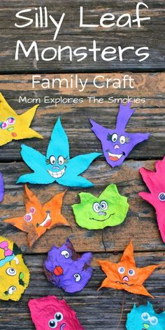 This bright and easy leaf based nature craft is great anytime of year, especially for Halloween!  It's a great family or kids' learning activity. #ThinkOutsideTheWipe [ad]