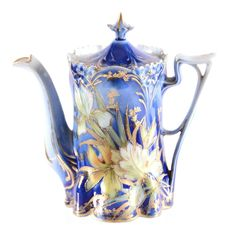 """Beautiful Blue Teapot Tea Pot - Unmarked 6.25"""" - Lily Mold - Cobalt Blue with Stylized Iris Decor - Strong Gold Trim"""