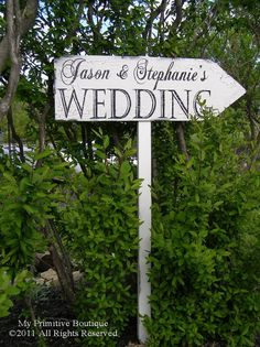 Point your guests in the right direction with this semi-rustic wedding sign.  Suggest making it two sided in case it needs to be seen from both directions.  Ron.