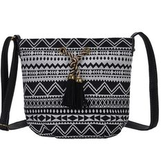 """Black Geometric Tassel Crossbody Bag This fabulous bag has a boho flair                         11""""W x 10""""H x 4""""D     26"""" strap length max              Outer is canvas and lining is 100% polyester   Zip closure one zip pocket inside and two slip pockets Antik Kraft  Bags Crossbody Bags"""