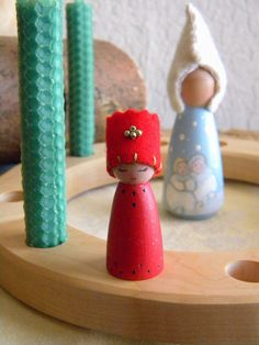 Peg Doll Birthday Ring Princess, December Birthday, Christmas, Holidays, Waldorf Toy, Girl Birthday, red, green, wood burned