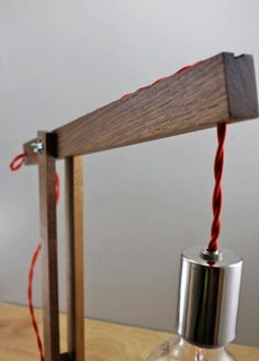 The Catapult Modern Wood Arm Lamp in Walnut  - table lamp