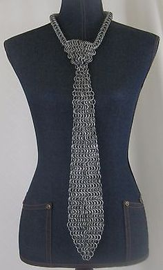 Chainmail Tie Chainmaille Halloween Chain Link Armor Costume Warrior Cosplay