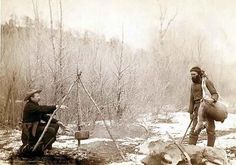 """""""Hunting Deer."""" A deer hunt near Deadwood in winter '87 and '88. Two miners McMillan and Hubbard got their game"""