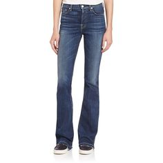 7 For All Mankind High-Rise Vintage Bootcut Jeans ($205) ❤ liked on Polyvore featuring jeans, apparel & accessories, la palma blue, blue jeans, vintage high waisted jeans, highwaisted jeans, blue high waisted jeans and 7 for all mankind