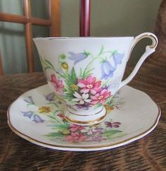 Royal Adderly Fine Bone China Demitasse Cup And Saucer, Spring Summer Flowers