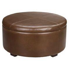 Threshold™ Nolan Bonded Leather Round Storage Ottoman - Camel