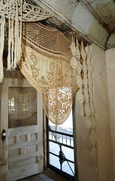 Rustic Way to use Vintage Lace.  lovely.