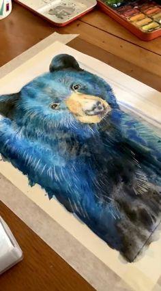 Bear Watercolor, Watercolor Tips, Watercolor Painting Techniques, Watercolor Tutorials, Watercolor Landscape Paintings, Painting Videos, Watercolor Animals, Watercolour Painting, Sad Paintings