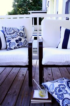 Diy tutorial on how to make outdoor cushions. Super easy! A sewing that can be done! If I can, you can!
