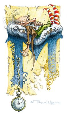 Le grand livre des korrigans Fairy Drawing Dwarf Gnome - Letter M clocks and sleeping dwarf the old man / by Pascal Moguerou Art And Illustration, Art Fantaisiste, Dibujos Cute, Illuminated Letters, Fairy Art, Calligraphy Art, Islamic Calligraphy, Magical Creatures, Letter Art
