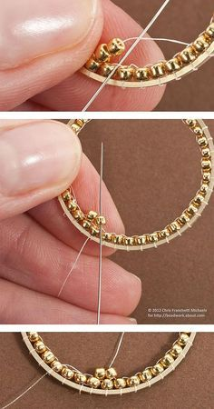 Tutorial for Inside Brick Stitch Hoop Earrings: Begin the Second Round of Beads . Tutorial for Inside Brick Stitch Hoop Earrings: Begin the Second Round of Beads Beaded Earrings Patterns, Jewelry Patterns, Beading Patterns, Beading Ideas, Beading Tutorials, Bracelet Patterns, Beading Supplies, Seed Bead Jewelry, Beaded Jewelry