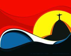 Rio & surf inspired art by Tom Veiga. Pop Art, Batik Art, Skate Art, Illusion Art, Water Photography, Surf Art, Travel Posters, Surf Posters, Design Reference