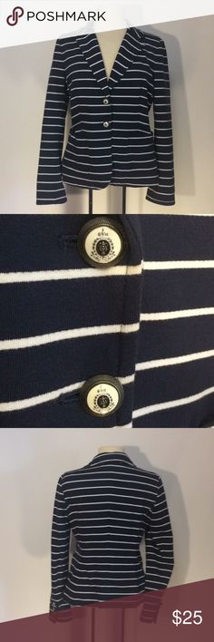 Charter Club Navy & White Striped Blazer Sz SP Charter Club Petites Navy and white striped 100% cotton lined blazer Sz SP. has really cool buttons - in excellent condition. Charter Club Jackets & Coats Blazers