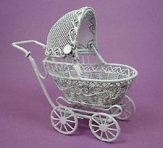 BABY BUGGY - Miniature Dollhouse Carriage Pram 1:12 scale White in Dolls & Bears, Dollhouse Miniatures, Toys & Games | eBay