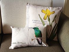 Designer Linen cotton Pillow beige green bird by sweetystore