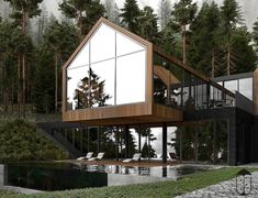 Forest House is a contemporary style house, erected on mountain side. Due to the natural materials such as stone and wood the house is made of, it perfectly fits into the surrounding, becoming its inseparable part. Style At Home, Architecture Design, Contemporary Style Homes, Dream House Exterior, Forest House, Glass House, House Goals, Home Fashion, Luxury Homes