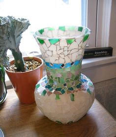 Mosaic Vase  Blues Greens Cream  Handmade w by GreenRoofGirl, $47.50