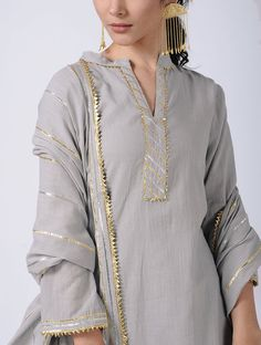 Grey Gota Cotton Kurta with Sharara and Dupatta (Set of 3 Silk Kurti Designs, Tunic Designs, Kurta Designs Women, Salwar Designs, Kurti Designs Party Wear, Gharara Designs, Stylish Dress Designs, Designs For Dresses, Stylish Dresses