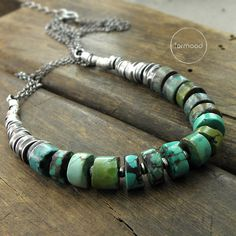 Necklace is made of oxidized silver 925 and turquoise. Dimensions: Necklaces circuit is adjustable: 18.5 + 1.57 inches / 47 + 4 cm Stones: 0.35
