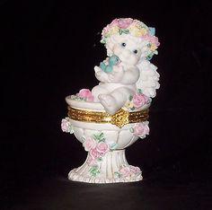 DREAMSICLES - Birdbath Box - Trinket Box - Cherub / Angel Figurine