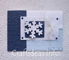"Christmas and Winter Craft - Winter Snowflake Card   Not only is this snowflake card perfect to send for Christmas, it is also a lovely greeting card or birthday to give to friends or family members that have January or February birthdays.    For this project you will need:    - blank white card  - navy blue and white cardstock  - scrapbook paper with snow greetings: the page used here is one is    from the ""DCWV Text Prints the Paper Stack"" 12x12 inch paper  - Cuttlebug with snow..."