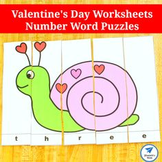 Valentine's Day Worksheets- Number Word Puzzles Rhyming Activities, Valentine Activities, Activities For Kids, Number Puzzles, Word Puzzles, Tangram Printable, Cool Experiments, Valentines For Mom, Counting Books