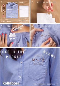 Cool Embroidery Projects for Teens - Step by Step Embroidery Tutorials - DIY Kitty Embroidery - Awesome Embroidery Projects for Teenagers - Cool Embroidery Crafts for Girls - Creative Embroidery Designs - Best Embroidery Wall Art, Room Decor - Great Embroidery Gifts, Free Embroidery Patterns for Girls, Women and Tweens http://diyprojectsforteens.com/cool-embroidery-projects-teens