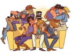 perplexingly:  Zeppelis and their loves(●´∀`●)   Hehe, two of the Joestars do not look entirely ok with that...of course Joseph looks very ok with it :P