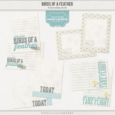 Birds of a Feather Journaling Cards by Celeste Knight $3.00 Add these delightful journaling cards to your scrap stash. With whimsical feathers and bird motifs these cards are a wonderful addition to your scrap supplies. Sized at 3x4 they are great for project life or any other projects. Horizontal and Vertical versions for each card! Includes: 4 3x4 journal cards each in vertical and horizontal versions All files are 300dpi .png file formats.