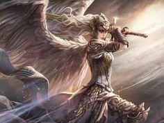 Token Angel, an art print by Magali Villeneuve - INPRNT Dark Fantasy Art, Fantasy Artwork, Fantasy Kunst, Fantasy Girl, Fantasy Warrior, Angel Warrior, Fantasy Character Design, Character Inspiration, Character Art