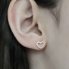 Heart Earrings -18k solid rose gold with white  diamonds