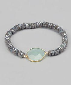 Look what I found on #zulily! Labradorite, Gold & Sea Green Chalcedony Stretch Bracelet #zulilyfinds