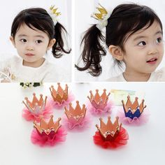 Baby Kids Girls Shiny Crown Princess Hair Clip Elastic Lace Pearl Headband BS #Unbranded
