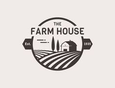 home logo Farm House concept logo. Template with farm landscape. Label for natural farm products. Black logotype isolated on white background. Landscaping Logo, Kitchen Logo, Kitchen Layout, Kitchen Design, Examples Of Logos, House Vector, Quote Backgrounds, Logo Food, Logo Inspiration