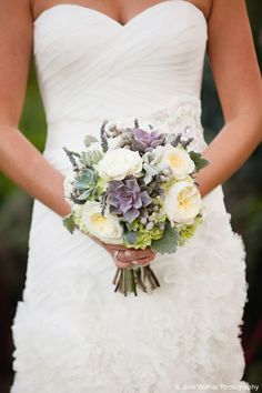Round bouquet of green hydrangeas, purple succulents, purple lavender, white peonies, gray