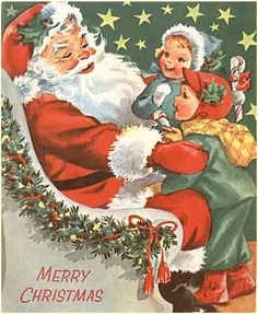 Vintage Christmas Greeting Canvas Art Jolly Santa Holds Kids on His Lap | eBay