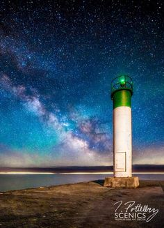 Galaxy Shores    A lighthouse stands tall on the shores of Lake Erie with the Milky Way rising majestically behind it.    Copyright : Trevor Pottelberg