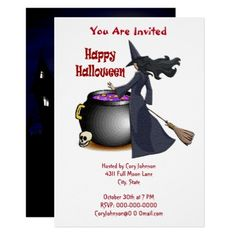 #Good Looking Witch and the Cauldron Invitation - #Halloween happy halloween #festival #party #holiday