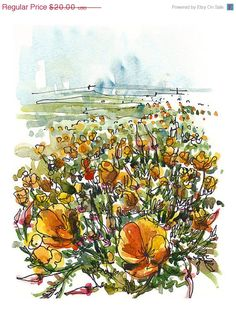 FALL SALE Garden Art, California Poppies in spring- a watercolor sketch in orange and green - print Flower Sketches, Art Sketches, Art Drawings, Watercolor Sketch, Watercolor Flowers, Watercolour Painting, Watercolors, Sea Of Poppies, Flower Landscape