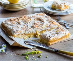 A Kiwi classic gets a zesty, citrusy twist with this Louise slice recipe. Traditional jam is swapped with lush lemon curd to create a tangy, seriously delicious afternoon tea treat. Skewer Recipes, Wine Recipes, Cooking Recipes, Lemon Coconut, Lemon Curd, Orange Recipes, Lemon Recipes, Lemon Desserts, No Bake Lemon Slice