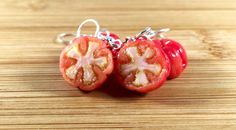 Realistic polymer clay tomato halves earrings or key ring