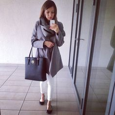 #ootd #greyoutfit #whiteskinnyjeans #waterfall #coat #mk #mkbag #michaelkors #totebag #saffianoleatherbag #mango #simplecp #instafashion #instalife #fashion #workoutfit #mirrormoment #selfie #polishgirl #brunette #milegodnia #dziendobry #haveaniceday #sunny #spring #byledoweekendu