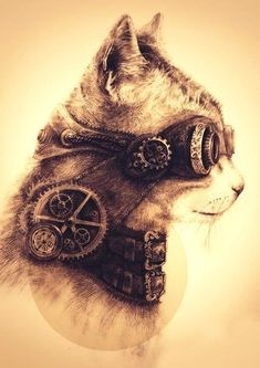 o... my... gosh... it's, a steampunk, cat. THAT IS SO AWESOME!!!!!!!!!!!!!!!!!!!!!!!!!
