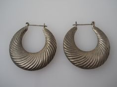 Sterling Silver 925 Etched Puffy Hoops Earrings Ridged by Replays