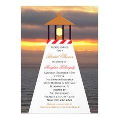 Nautical Bridal Shower Invitations - Lighthouse