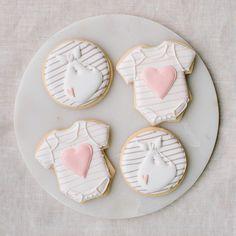 Stork stripes + hearts    Baby Shower Cookies by Sweet Kiera