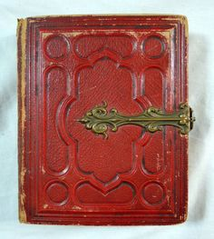 Victorian Red Leather Postcard Book w/ Brass Clasp - Hannover, Germany, Europe