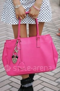 Bright pink with heat keychain bag