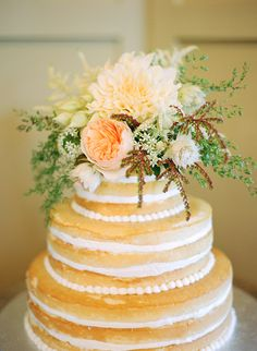 Gorgeous naked cake | Photo by White Loft Studio.  Michelle, I really like the way this one has a border and the flowers on top.